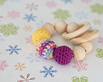 Teething toy with crochet yellow pink/purple  wooden beads and 2 wooden rings. Wooden rattle. Gift for baby girl.