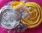 SALE.....Gorgeous Gray and Yellow Vintage Rosette lace hair clip AND pin