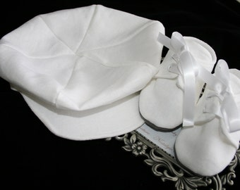 White Linen Baby Newsboy Hat and Booties\Shoes, Sizes Newborn to 18 months, Christening, Baptism, Dedication, Easter, Special Occasion