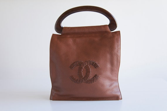RESERVED for Elaine Vintage CHANEL Chocolate Brown Leather Tote with Whipstitch Double C Logo and Wooden Handles