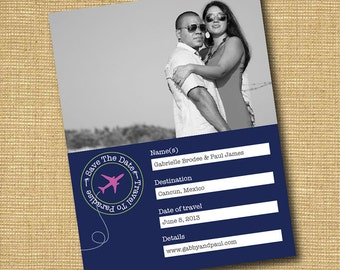 Travel To Paradise: Destination Wedding DIY Printable Save The Date Photo Card