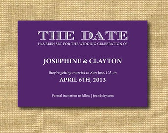 DIY Printable Save the Date available in purple, black, navy, red and more