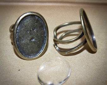 6 Ring making KITS 6 Oval bases and 6 glass cabochons  - 18 x 25 mm ring base  Bronze, silver plated, Adjustable - Jewelry Making findings