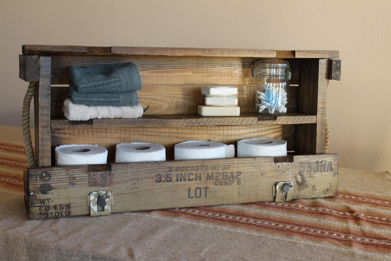 Bathroom storage reclaimed military wood cabinet furniture