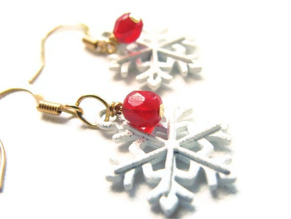 Christmas Jewelry, Red and White Snowflake Earrings, Gold Ear Wires
