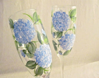 Beautiful blue hydrangeas painted on set of  flutes personalizable