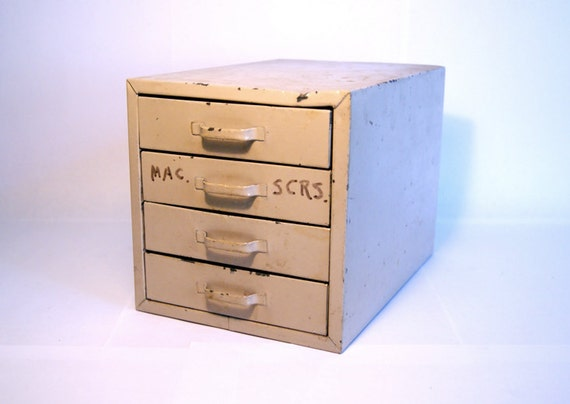 Small Industrial Four Drawer Organizing Desk Cabinet