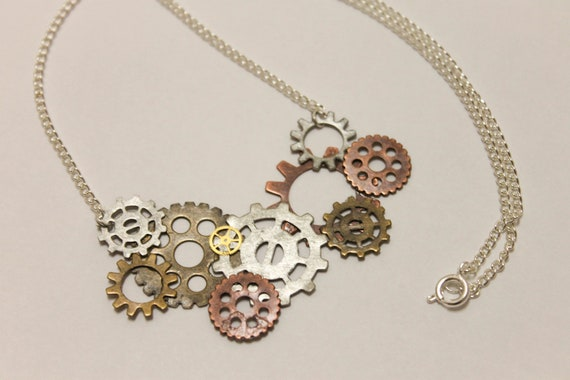 Steampunk Gears Necklace - Free US Shipping