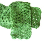 Crocheted  Spring Green Scarf