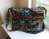 Brown and Orange Mustache Large Diaper bag