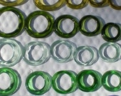 GLASS RECYCLED BOTTLE  Rings (necks)  for various projects, jewelry, mosaics, sun catchers, garden decorations, crafts, craft supplies