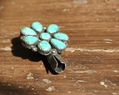 Vintage Turquoise Silver Blossom Pendant