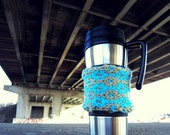 Knit Coffee Cup Cozy Taupe / Blue Travel Cup Cozy