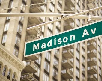 New York City street sign print, Madison Avenue, urban decor, NYC photo, Manhattan, street corner, architecture print.