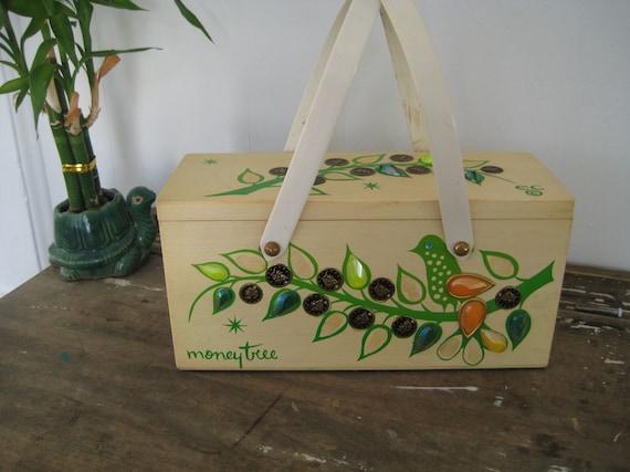 Vintage Enid Collins of Texas Money Tree Wood Box Handbag Purse with handles Rhinestones