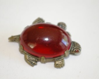 Big Turtle Pin - Gilded Sterling Frame - Blood Red Lucite Cab - a 1930's Classic