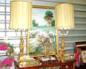 Hollywood Regency Dorothy Draper, French DIRECTOIRE Gold Leaf Bouillote Lamps - Original Shades & Finials