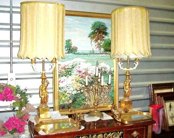 Hollywood Regency Dorothy Draper French DIRECTOIRE Gold Leaf Bouillote Lamps - Original Shades & Finials