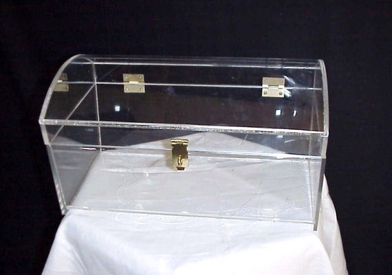 Mid Century Large Lucite Acrylic Domed Chest Trunk Casket