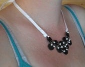 elegant black and white shrinky necklace