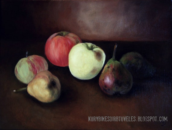 original classical painting, 12x16, still life, apples and pears, canvas, oil painting, kitchen decor