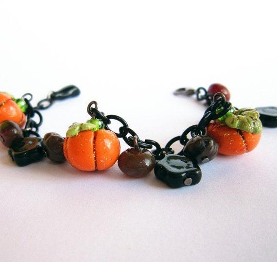 Halloween Pumpkin Bracelet, Polymer Clay Charm Bracelet