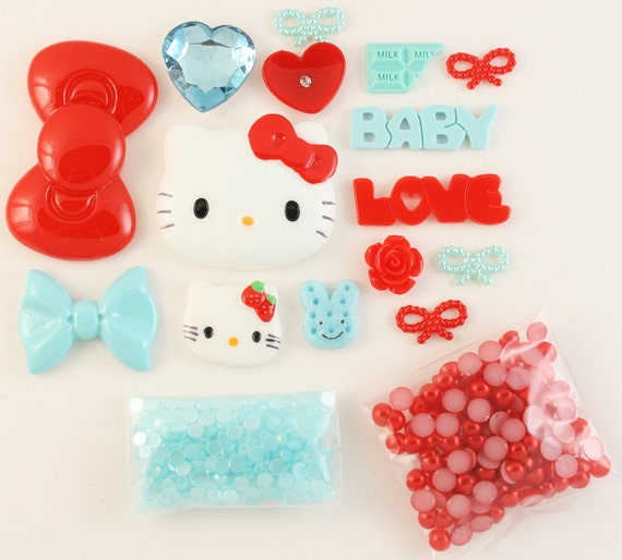 "SALE - Petit Deco ""Kawaii in Paris"" Blue / Red Kit"