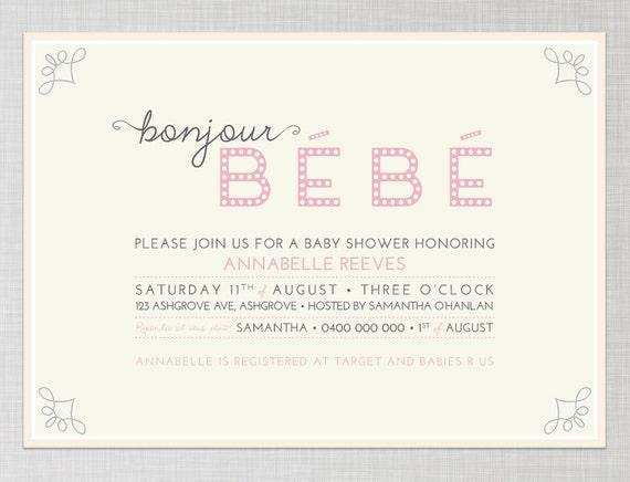 Articles similaires à Français Baby Shower Invitation en ...