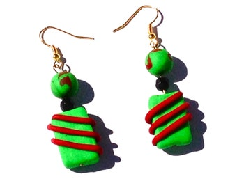 Dangle Earrings Polymer Clay Red and Green Candy Cane