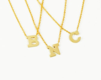 Solid 14K Gold Personalized Fancy Block Letter Necklace- ONE LETTER