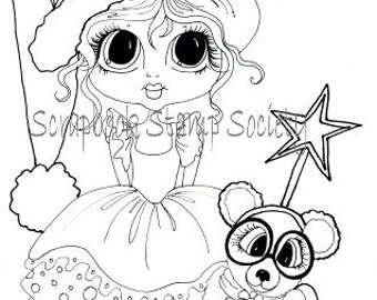 INSTANT DOWNLOAD Digital Digi Stamps Big Eye Christmas Star  Besties Big Head Dolls Digi By Sherri Baldy