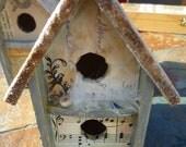 Decorative birdhouse collage/encaustic cottage