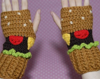 Crohet Gloves-Burger Fingerless Gloves - Fingerless Gloves- Food Gloves-Kawaii-Mittens-Women Gloves