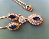 Gold-Plated CZ and Blue gem Necklace