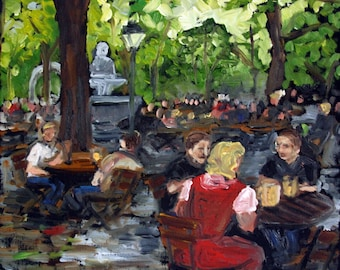 Original oil painting: At the Biergarten- 12x12 inches