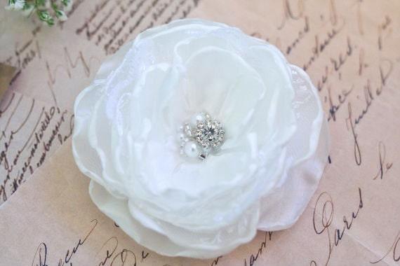 White Wedding Hair Flower Bridal Hair Flower Wedding Headpiece Bridal Hair Accessory Satin Lace Pearls Rhinestones