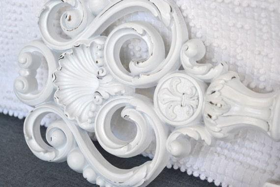 White Shabby Chic Vintage Upcycled Large Ornate Key.... White Resin Skeleton Wall Key
