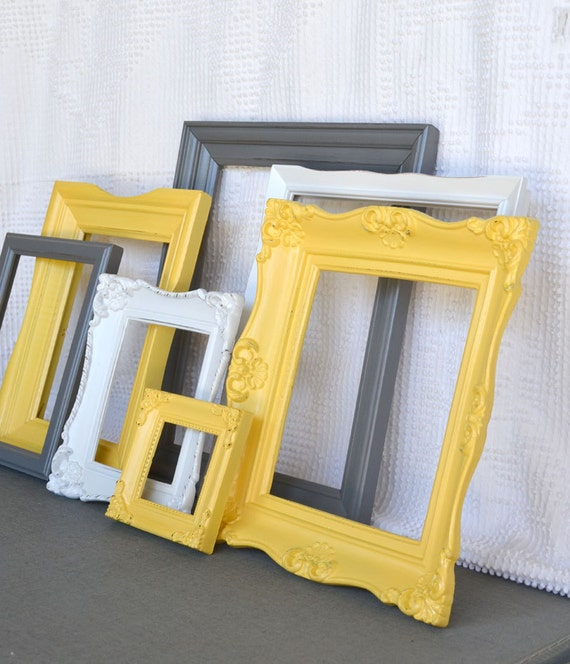 Yellow Grey Gray White Vintage Ornate Frames Set Of 7
