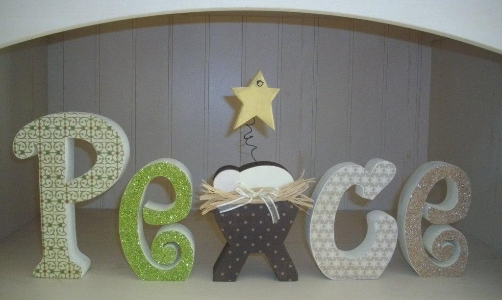 Christmas wood letters peace decoration blocks mantle