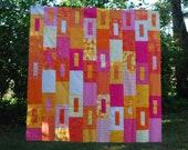 Large Lap Quilt, Made to Order Quilt, Custom Quilt, Orange Crush Lap Quilt