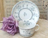 Lovely Soft Blue and White Transfer Ware Teacup and Saucer by New Wharf Pottery England