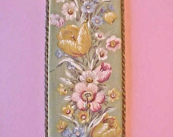 Darling Little Vintage 1930's Fabric Covered with Metallic Trim Wall Hanging Key Holder