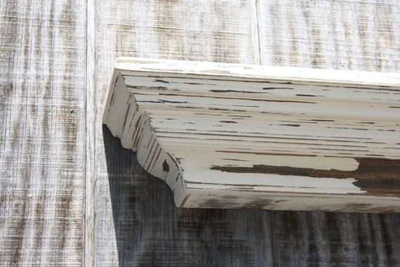 Distressed floating wall shelf