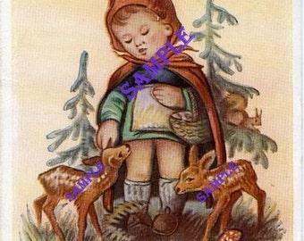 Digital Download-German Girl With Deer by Arnulf-Vintage Postcard