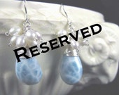 Blue Larimar Earrings With Freshwater Pearls -- RESRVED