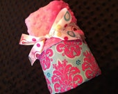 Minky Baby Blanket- pink minky with aqua and pink damask