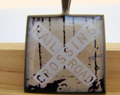 Resin Pendant, Railroad Crossing Sign, White, Beige, 1 inch, Square, Unisex, Rustic, Necklace