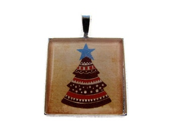 Resin Pendant, Christmas Tree, Primitive, 1 inch, square, Necklace, For her, Brown, Beige, Red, Blue, White
