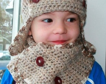 Crochet pattern, baby aviator hat pattern with scarf crochet pattern includes 4 sizes INSTANT DOWNLOAD