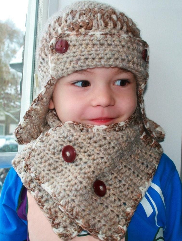 Child Crochet Aviator Hat Pattern : Crochet pattern baby aviator hat pattern with scarf crochet